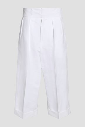 MARNI Cropped linen-blend wide-leg pants