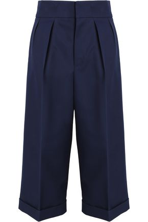 MARNI Pleated cotton and wool-blend culottes