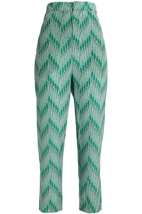 MARNI Printed silk crepe de chine tapered pants