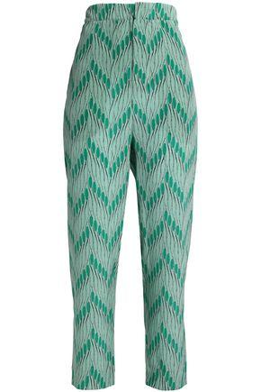 MARNI Printed silk crepe de chine tapered pants