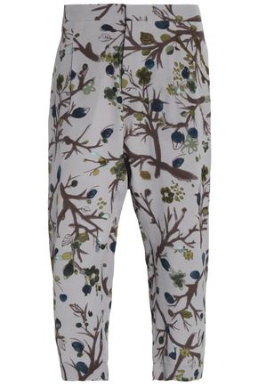 MARNI Cropped printed silk crepe de chine straight-leg pants