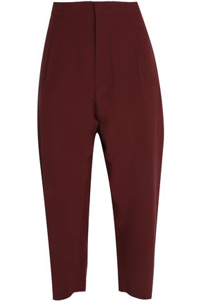 MARNI Cropped silk crepe de chine tapered pants