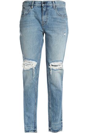 ALEXANDER WANG Distressed faded high-rise tapered jeans