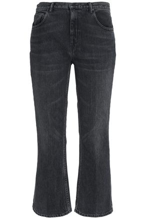 ALEXANDER WANG Cropped faded mid-rise bootcut jeans