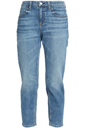 ALEXANDER WANG Cropped faded mid-rise tapered jeans