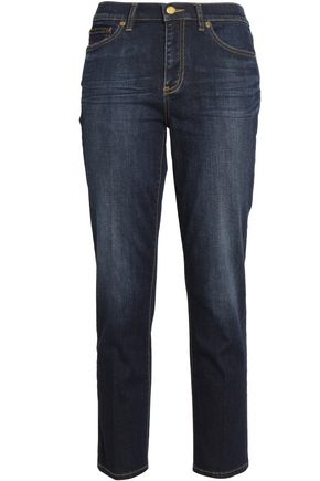 TORY BURCH Cropped faded mid-rise skinny jeans