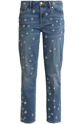 TORY BURCH Cropped embroidered high-rise straight-leg jeans