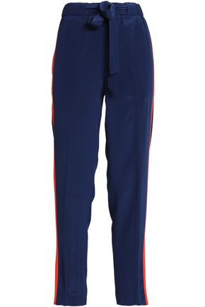 TORY BURCH Striped silk crepe de chine tapered pants