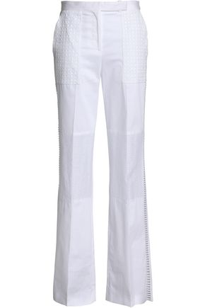 BELSTAFF Broderie anglaise-paneled cotton-blend wide-leg pants