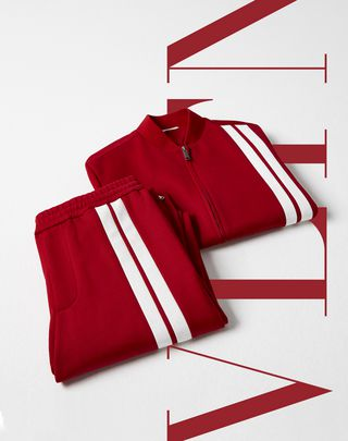 VLTN VALENTINO UOMO Pants with contrasting bands Red POLIESTERE 13154120AU