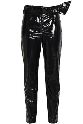 ISABEL MARANT Coated cotton-blend slim-leg pants