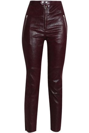 ISABEL MARANT Coated leather slim-leg pants