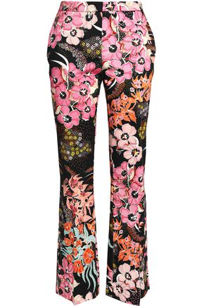 JUST CAVALLI Printed twill straight-leg pants