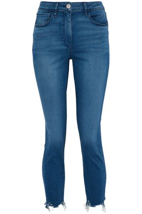 3x1 Frayed faded mid-rise slim-leg jeans