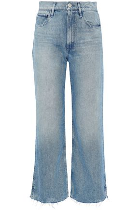 3x1 Cropped frayed mid-rise bootcut jeans