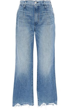 3x1 Distressed high-rise wide-leg jeans