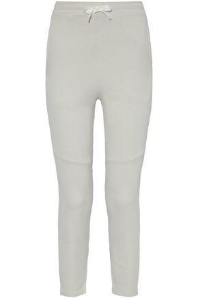 WOMAN PANELED COTTON-TERRY TRACK PANTS WHITE