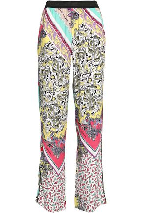 JUST CAVALLI Printed terry wide-leg pants