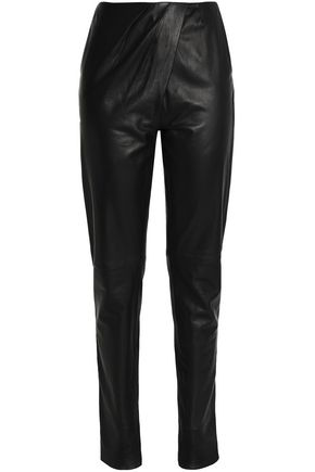 AMANDA WAKELEY Pleated suede slim-leg pants