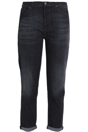7 FOR ALL MANKIND Faded mid-rise slim-leg jeans