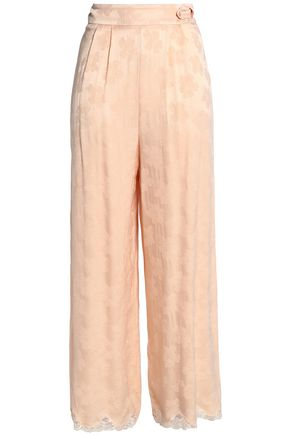 MAJE Pleated satin-jacquard wide-leg pants