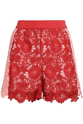 MAJE Two-tone guipure lace shorts