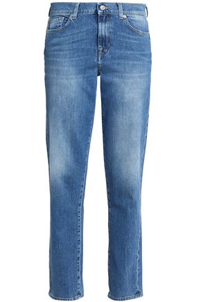 7 FOR ALL MANKIND Faded mid-rise straight-leg jeans