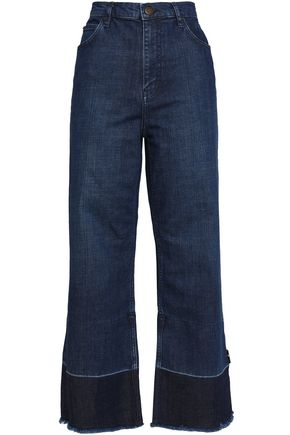 MAJE Cropped high-rise wide-leg jeans