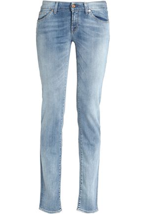 7 FOR ALL MANKIND Faded low-rise slim-leg jeans