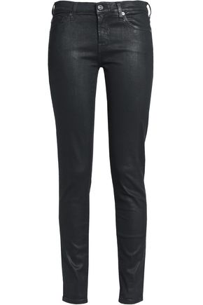 7 FOR ALL MANKIND Coated mid-rise skinny jeans