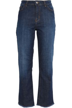 MAJE Frayed high-rise straight-leg jeans