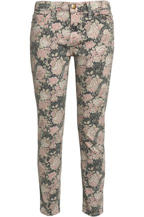 CURRENT/ELLIOTT Floral-print low-rise skinny jeans