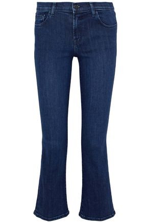 J BRAND Two-tone mid-rise kick-flare jeans