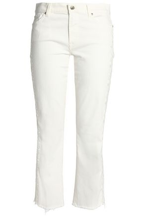 7 FOR ALL MANKIND Frayed embroidered straight-leg jeans