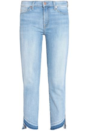 7 FOR ALL MANKIND Cropped high-rise slim-leg jeans