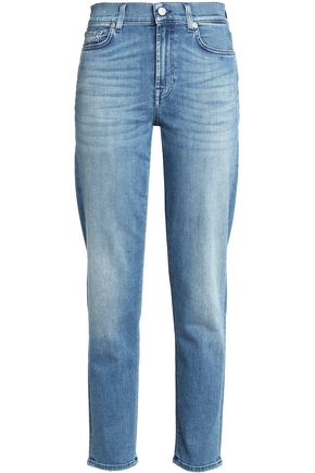 7 FOR ALL MANKIND Embroidered high-rise slim-leg jeans