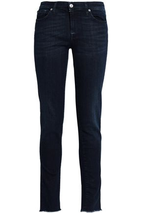 7 FOR ALL MANKIND Frayed mid-rise slim-leg jeans