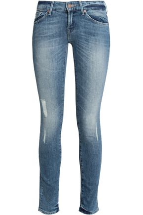 7 FOR ALL MANKIND Distressed faded low-rise skinny jeans