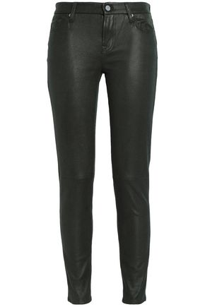 7 FOR ALL MANKIND Faux cracked-leather skinny jeans
