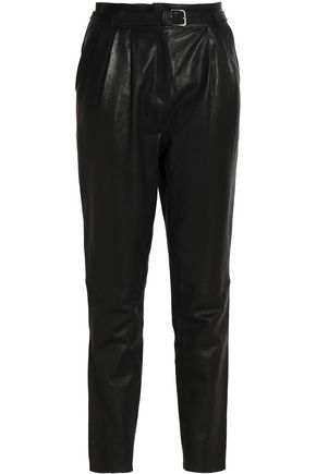 BELSTAFF Belted leather tapered pants