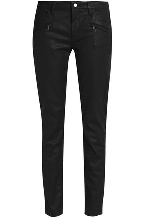 BELSTAFF Coated cotton-blend gabardine skinny pants
