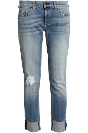 RAG & BONE/JEAN Distressed faded low-rise straight-leg jeans