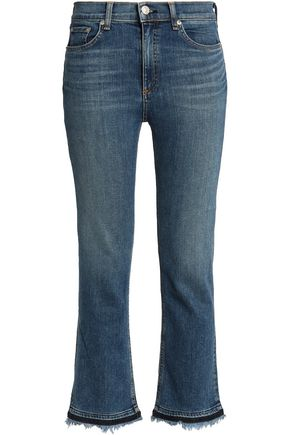 RAG & BONE/JEAN Frayed high-rise bootcut jeans