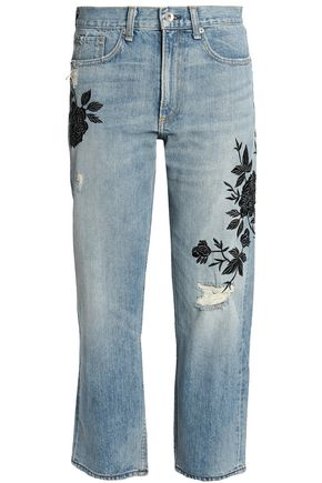 RAG & BONE/JEAN Embroidered distressed mid-rise straight-leg jeans