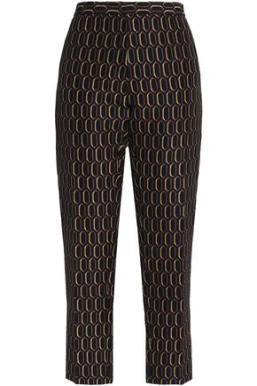 MARNI Cropped cotton-jacquard straight-leg pants