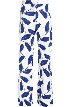 MARNI Printed cotton and linen-blend wide-leg pants