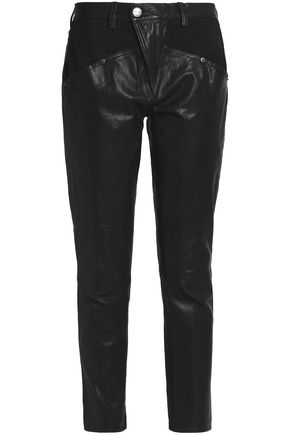 CURRENT/ELLIOTT Paneled leather skinny pants