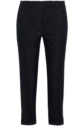 THOM BROWNE Grosgrain-trimmed wool tapered pants