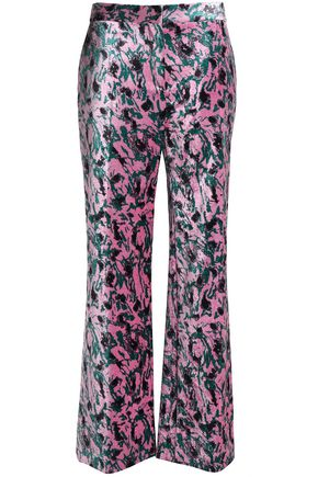 MARNI Printed velvet wide-leg pants