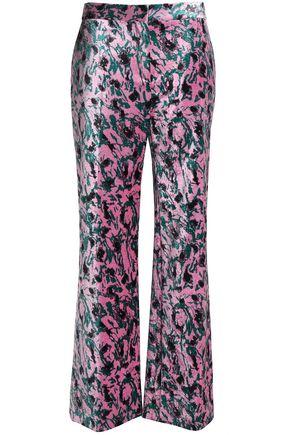 MARNI Printed velvet wide-leg pants